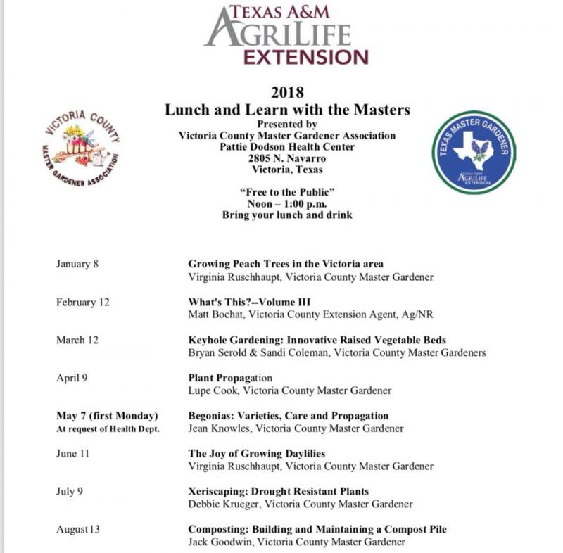 2018 Lunch Learn Calendar